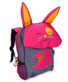 My Milestones Kids Backpack Rabbit Design Grey Pink - Height 13 Inches