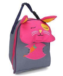 My Milestones Toddler Kids Lunch Bag Rabbit Design Grey Pink - 9 inch