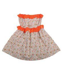 Superfie Printed Dress For Girls - Orange