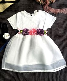 Superfie Flower Applique Dress For Girls - White