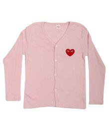 Superfie Full Sleeves Heart Print Sweater - Pink