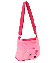 IR Plush  Shoulder Bag  with Puppy Face - Pink