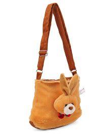 IR Plush Shoulder Bag  with Bunny Face - Brown