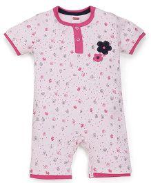 Babyhug Short Sleeve Allover Printed Romper - Pink