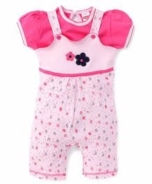 Babyhug Dungaree Romper With Inner Tee Flower Patch - Pink