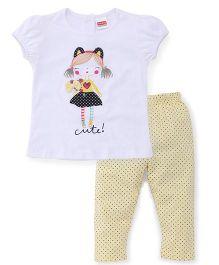 Babyhug Puff Sleeves Top And Pajama Printed - White Yellow