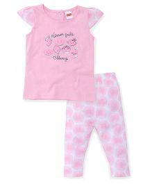 Babyhug Cap Sleeves Top And Pajama Printed - Pink White
