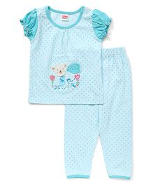 Babyhug Puff Sleeves Dotted Top And Pajama - Mint Blue