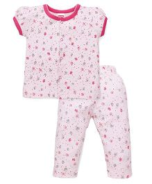 Babyhug Front Open Night Suit Allover Print - Pink