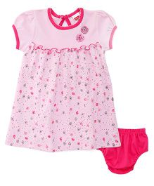 Babyhug Short Sleeves Printed Frock With Bloomer - Pink