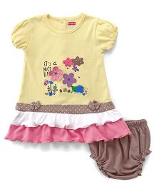 Babyhug Short Sleeves Floral Patched Frock With Bloomer - Lemon Yellow