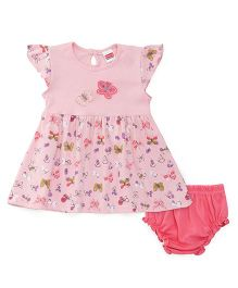 Babyhug Short Sleeves Butterfly Print Frock With Bloomer - Peach