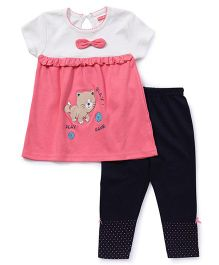 Babyhug Short Sleeves Top & Leggings Set Kitty Print - Coral Navy
