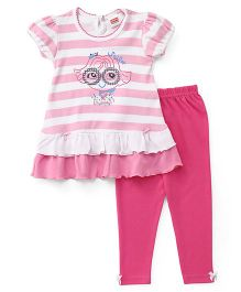 Babyhug Short Sleeve Frock With Leggings - White & Fuchsia