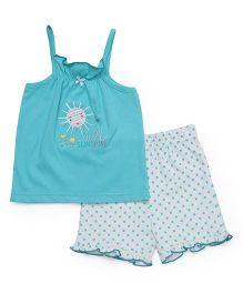 Babyhug Singlet Printed Top With Shorts - Blue