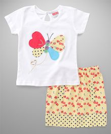 Babyhug Short Sleeves Top And Printed Skirt Set Butterfly Patch - White & Yellow