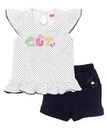 Babyhug Short Sleeves Top And Solid Shorts Set - White & Navy Blue