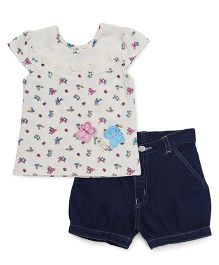 Babyhug Short Sleeves Printed Top With Shorts - Lemon Blue