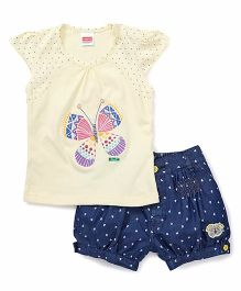 Babyhug Short Sleeves Top And Denim Shorts Butterfly Embroidery - Yellow & Blue