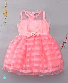 Babyhug Party Wear Frock With Stripes - Pink