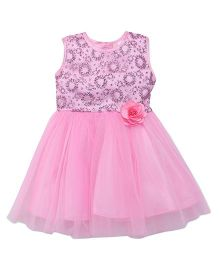 Babyhug Sleeveless Party Wear Frock Flower Applique - Pink