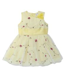 Babyhug Sleeveless Party Wear Frock Floral Embroidery - Yellow