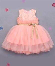 Babyhug Sleeveless Party Frock Embellished Bodice - Peach