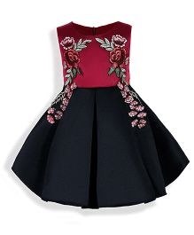 Pre Order - Mauve Collection Fit N Flare Inverted Box Pleat Patch Work Dress - Dark Pink & Black