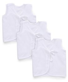 Chocopie Sleeveless Jhabla Pack of 3 - White