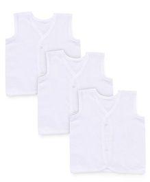 Chocopie Sleeveless Jhabla Pack of 3 - White