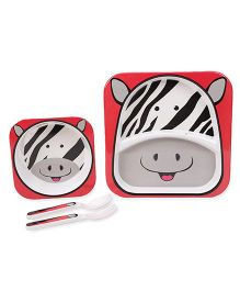 Cello Melmoware Dish Set Kid's Hop In The Zoo Zebra - Red And Grey