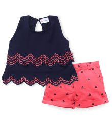 Peppermint Sleeveless Top And Shorts Set - Pink Blue