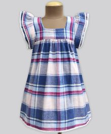 A.T.U.N Berry Blend Flannel Check Angel Sleeve Dress - Blue & White