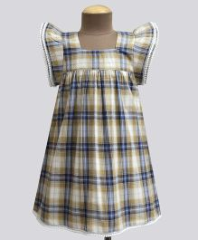 A.T.U.N Honeycomb Tartan Plaid Angel Sleeve Dress - Beige & Navy