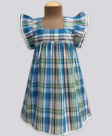 A.T.U.N Sea Splash Madras Check Angel Sleeve Dress - Blue & Green