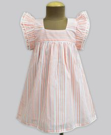 A.T.U.N Cantaloupe Barcode Stripe Angel Sleeve Dress - Orange & White
