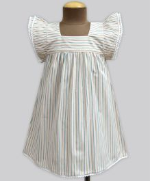 A.T.U.N Garden Play Pinstripe Angel Sleeve Dress - White & Light Green