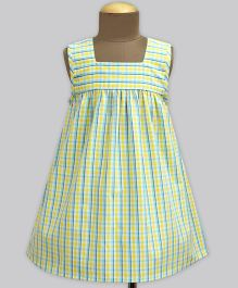 A.T.U.N Morning Glory Tattersall Check Poppins Dress - Yellow & Green
