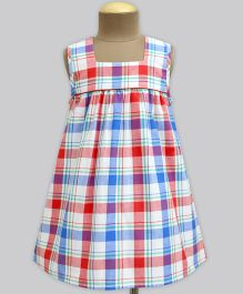 A.T.U.N Frais Madras Check Poppins Dress - Red & Blue