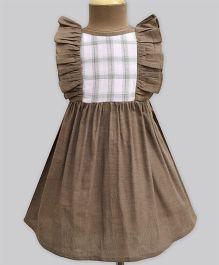 A.T.U.N Mocha & Blush Check Ruffle Dress - Brown