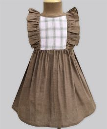 A.T.U.N Mocha & Blush Check Ruffle Dress - Brown