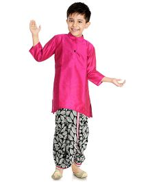 Little Pockets Store Printed Dhoti With Contrast Border & Kurta - Fuchsia Pink