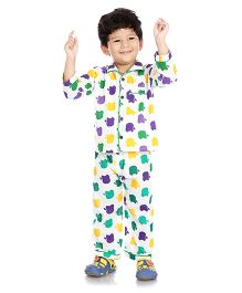 Little Pockets Store Apple Printed Night Suit - Multicolour