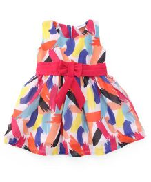 Peppermint Sleeveless Frock Waist Bow - Multi Color