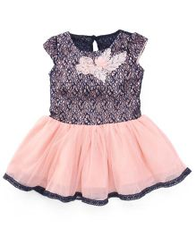Peppermint Short Sleeves Party Frock Floral & Pearl Applique - Peach & Navy