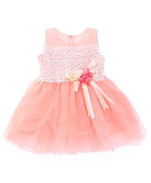 Peppermint Sleeveless Party Frock Satin Bow & Floral Applique - Peach
