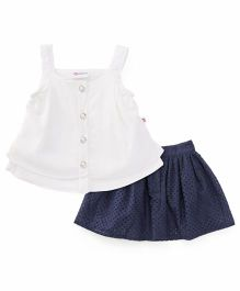 Peppermint Singlet Top & Skirt Set - Cream Navy