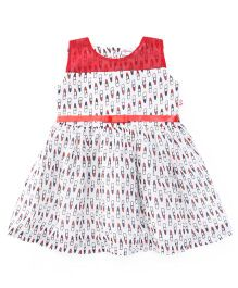 Peppermint Sleeveless Frock All Over Lipstick Print - Red & White