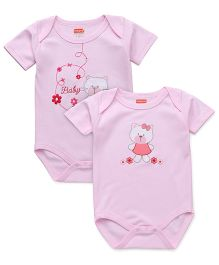 Babyhug Half Sleeves Onesies Pack Of 2 - Pink