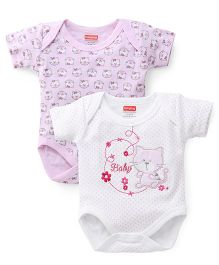 Babyhug Half Sleeves Onesies Pack Of 2 - Pink White